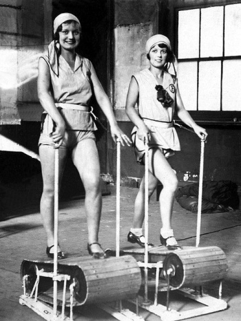 women on treadmills vintage